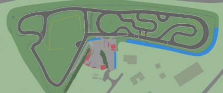 Areas (in blue) for tents and team awnings etc.